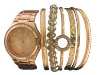 Montre Fashion Watches pour femmes superposable en r or rose avec six bracelets variés