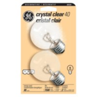 GE 40W Crystal Clear Globe Bulbs 2pk