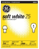 GE Soft White 25W A19 2pk