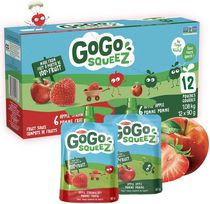 GoGo squeeZ Unsweetened Applesauce Pouches, Variety Pack (Apple/Apple Strawberry Flavours), No Sugar Added, Nut free snack for kids
