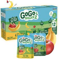 GoGo squeeZ Unsweetened Applesauce Pouches, Variety Pack (Apple/Apple Banana Flavours), No Sugar Added, Nut-Free Applesauce School Snack
