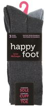 Happy Foot by McGregor Womens' 3 Pair Flat Knit Crew Socks Denim