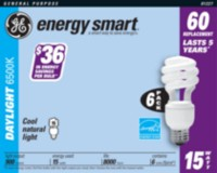 GE Energy Smart 15W Daylight Spiral 6pk