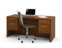 Embassy Executive Desk with Dual Half Peds Brown