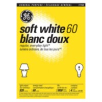 GE 60W A19 Soft White Bulbs 4 Pack