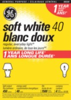 GE 40W Soft White Long Life 4pk