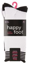 Happy Foot by McGregor Womens' 3 Pair Honeycomb Roll Top Crew Socks White