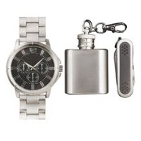 Trend Watches Men's Watch Set with Multi Tool and Stainless Steel Flask