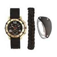 Trend Watches Men's Watch Set with Black Bracelet and Multi Tool