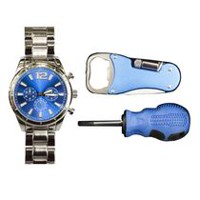 Trend Watches Men's Watch Set with Multi Tool with Flashlight and Screwdriver