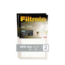Filtrete™ Clean Living Basic Dust Filter, MPR 300, 16 in x 25 in x 1 in, 2 per pack