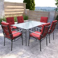 CorLiving PZT-854-S Charcoal Black and Red Patio Dining Set