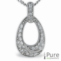 CZ Drop Sterling Silver Pendant