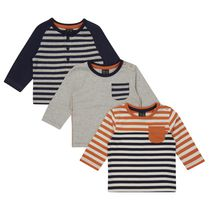 George British Design Baby Boys' 3Pk Long Sleeved Striped T-Shirt 6-12 months