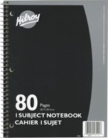 Coil Notebooks, 1 Subject, 10-½ x 8, 80 Page