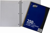 Coil Notebooks 3 Hole with Margin 1 Subject, 10-½ x 8, 250 Page