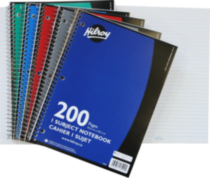 Hilroy Notebook 3 Hole with Margin, 1 Subject, 10-½ x 8, 200 Page, Assorted Colours