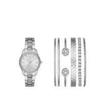 Fashion Watches Women's Stackable Silvertone Watch with 6 Assorted Bracelets