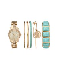 Montre superposable Fashion Watches pour femmes de couleur or avec six bracelets variés