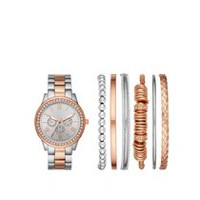 Fashion Watches Women's Stackable Two Tone Watch with 6 Assorted Bracelets