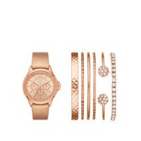 Montre superposable Fashion Watches pour femmes de couleur or rose avec six bracelets variés