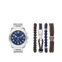 Trend Watches Men's Stackable Silver Tone Watch with 4 Assorted Bracelets