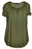 George Women's GRS70033LD Solid Short Sleeve Peasant Blouse Olive XXL