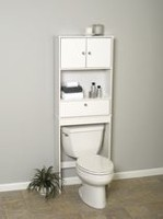 Mainstays White Wood Spacesaver with Cabinet and Drop Door