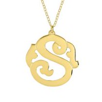 "14kt Gold Plated Sterling Silver""S"" Monogram Pendant"