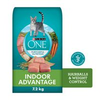 Purina ONE® SmartBlend™ Indoor Hairball and Weight Control Adult Cat Food 1.8kg Bag 7.2KG