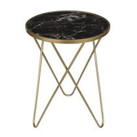 hometrends Marble Accent Side Table with Glass Top
