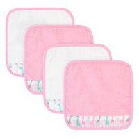 Débarbouillettes de ratine de velours Premium Baby Bath Collection en paq. de 4 en rose