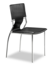 Zuo Trafico Leather Dining Chairs Black