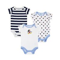 Disney Boys' Mickey Mouse Short Sleeve Bodysuits - Pack of 3 Newborn