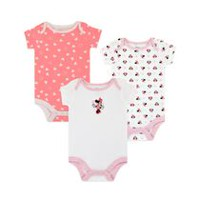 Disney Girls' Minnie Mouse Short Sleeve Bodysuits - Pack of 3 0-3 months