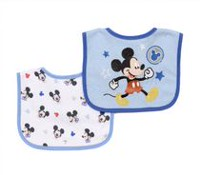 Disney Boys' 2 Pack Mickey Mouse Printed Bibs