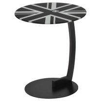 Worldwide Homefurnishings British Flag Painted Glass and Black Metal Accent Table