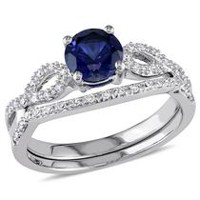 Tangelo 1 Carat T.G.W. Created Blue Sapphire and 0.17 Carat T.W. Diamond 10 K White Gold Infinity Bridal Set 6