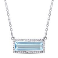 Tangelo 3 Carat T.G.W. Baguette-Cut Blue Topaz and White Sapphire Sterling Silver Halo Necklace, 17""