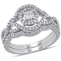 179b59eb1 Miabella 1/2 Carat T.W. Diamond 10K White Gold Halo Crossover Bridal Set