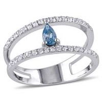 Tangelo 1 Carat T.G.W. London-Blue Topaz and White Topaz Sterling Silver Two-Row Ring 6