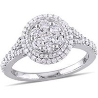 Miabella 1 Carat T.W. Diamond 14 K White Gold Cluster Vintage Halo Engagement Ring 7
