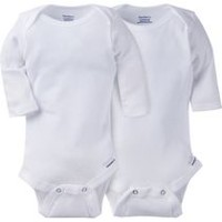Gerber Childrenswear White Long Sleeve Onesies® - Pack of 2 24 months