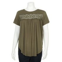 George Women's Crocheted Yoke Top Green M/M