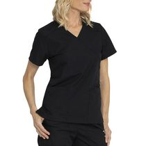 Scrubstar Mock Wrap Top Black XS-XXL