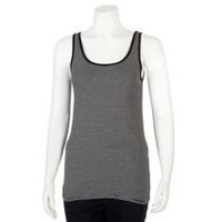 George Women's Scoop Neck Rib Tank Top Dark Black M/M