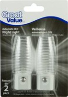 Great Value LED Night Light; auto on/off; Clear Ribbed Shade: 2pk