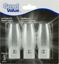 Great Value LED Night Light; auto on/off; Clear Ribbed Shade: 3pk