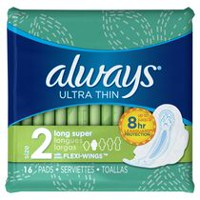 Always Ultra Thin Size 2 Long Super Pads With Wings, Unscented