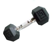 CAP Barbell Rubber Coated Hex Dumbbell, 15 lbs